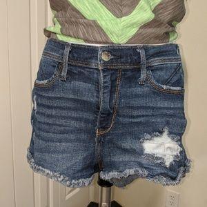 Hollister high rise denim distressed shorts